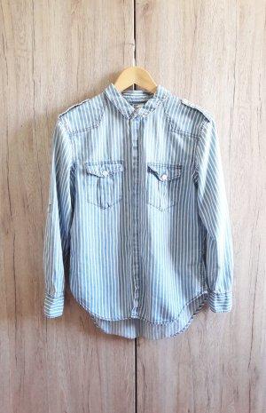 Jeans Hemd gestreift blau weiß Gr. 34