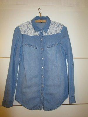 Jeans Hemd mit Spitzenbesatz