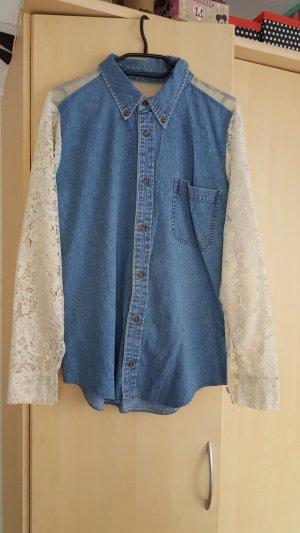 Jeans Hemden mit Spitzen, Gr.M
