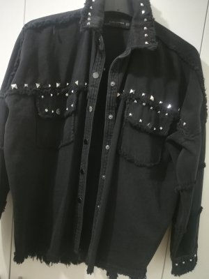 Zara Jeans blouse zwart-zilver