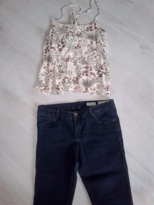 High Waist Trousers blue cotton