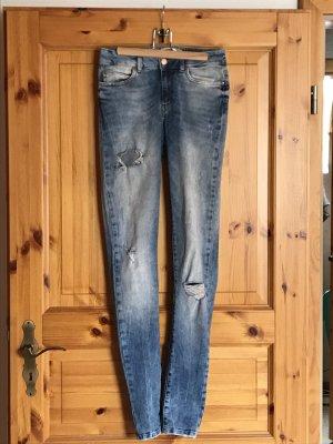 Jeans, high waist, used look