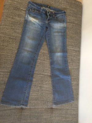 Jeans a zampa d'elefante blu acciaio