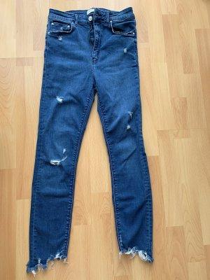 Zara Hoge taille jeans staalblauw