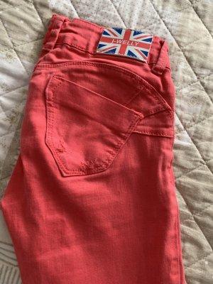 Jeans vita bassa magenta