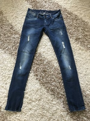 mehr Fotos 5716a 18f08 Jeans Hose Gr. 34 XS New Yorker Amisu blau destroyed Jeans Strass