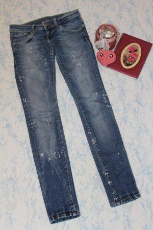 Jeans taille basse bleu-blanc
