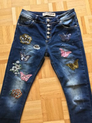 Jeans hose röhre leggings treggings pailletten perlen glitzer blogger gr 34/36