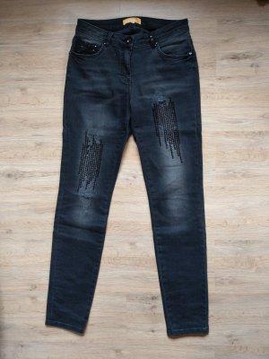 Jeans Hose schwarz Pailletten Crisca Biba