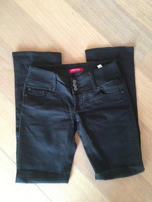 Jeans Hose schwarz stretchig Basic gerades Bein Gr. 36