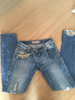 Jeans Hose Skinny mit Patches Cut-Off Gr. 26 blau