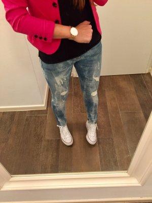 Jeans Hose stretch Waschung blau weiß Röhrenhose H&M denim Skinny Low Waist