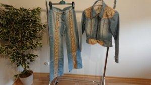 Jeans-Hosenanzug mit Leoprint, Gr. 38 NEU