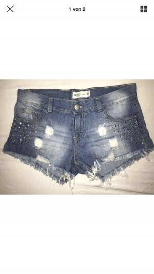 Jeans Hot Pants destroyed look mit strass 38