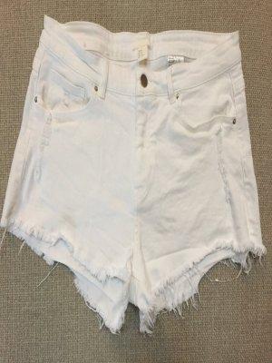 H&M Pantalón corto de tela vaquera blanco