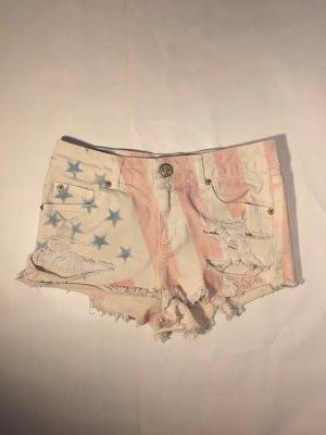 Jeans Hotpants mit USA-Print