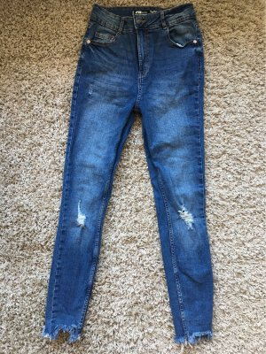 FB Sister Hoge taille jeans blauw-wit