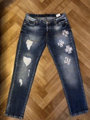 Jeans in blau mit Muster