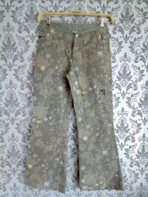 Broek met wijd uitlopende pijpen groen-grijs-khaki