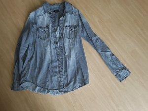 Chemise en jean argenté