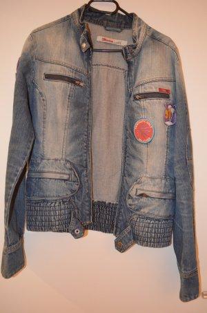 Jeans Jacke im Used Look mit Reisverschluss in L
