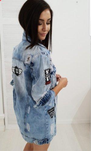 Veste en jean bleu clair-bleu