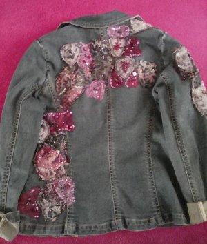 Jeans Jacke mit Blümen Muster