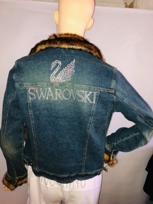 Swarovski Chaqueta de motociclista azul acero-coñac Algodón