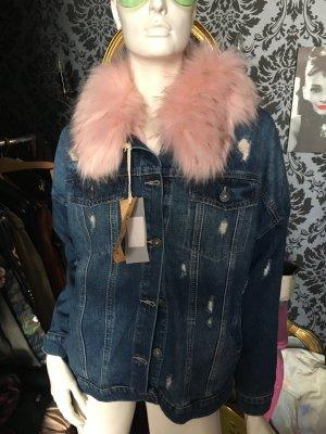 Jeans Jacke used Look mit rosa Fell Gr. XL NEU