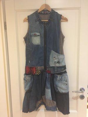 Desigual Robe en jean bleu foncé-bleu azur