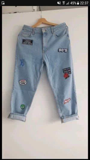 jeans knöchelhose vintage mit patches