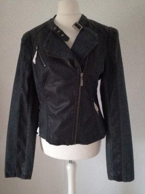 Jeans Leder Jacke Wetlook Reißverschlüsse Bikerjacke Jeansjacke