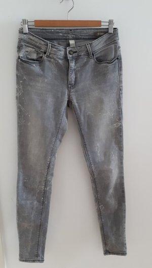 Mango Jeans cigarette blanc-gris coton
