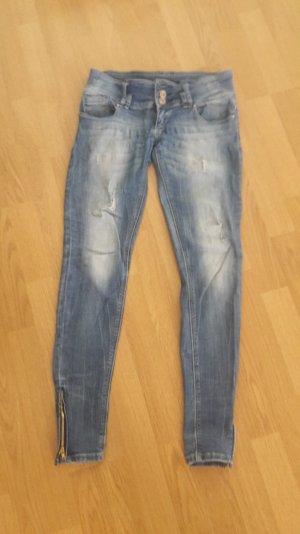 Jeans Low Waist Reißverschluss Biker Skinny Ankle Stretch Slim Fit Röhre