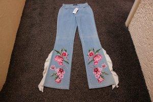 #Jeans m. Applikation und Volant, Gr. 17 (34), #NEU, #Apart, #stone
