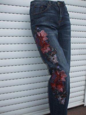 Jeans bootcut bleu foncé coton