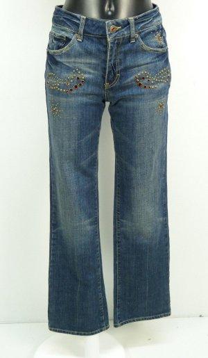 Pantalone cinque tasche blu acciaio-blu Cotone