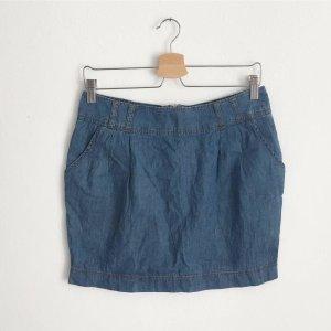 Jupe en jeans bleuet-bleu acier coton