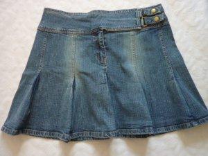 Jeans Mini Faltenrock Damen Rock A-Linie 40