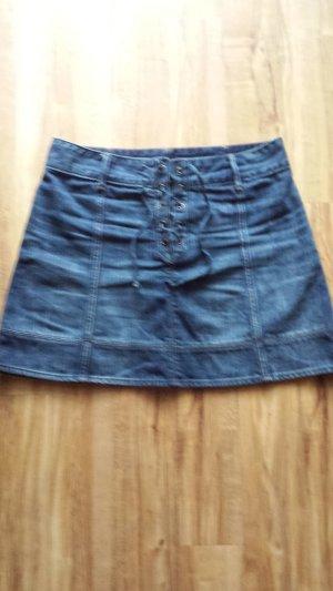 Jeans Mini Rock mit Schnürung