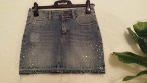Jeans Mini Rock mit Straßsteinen