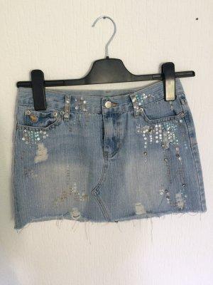 Jeans Minirock used Look mit Fransen und Pailetten
