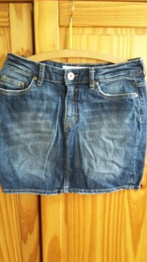 Jupe en jeans bleu acier coton