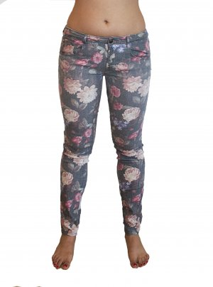 Jeans mit Blümchenprint Low Waist