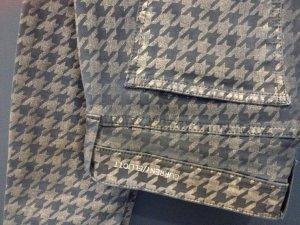 Jeans mit Hahnentritt-Muster in schwarz-gold