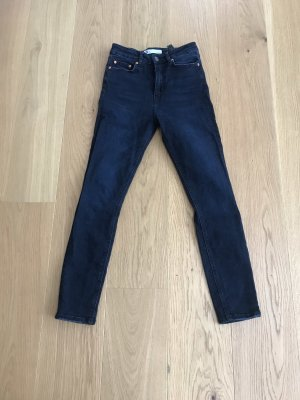 Zara Vaquero de talle alto azul oscuro