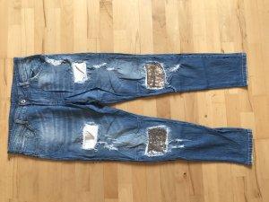 Jeans mit Pailletten XL boyfriend Glitzer Silber