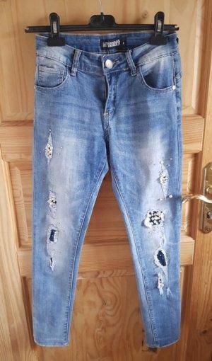 Hailys Jeans cigarette bleu azur-blanc