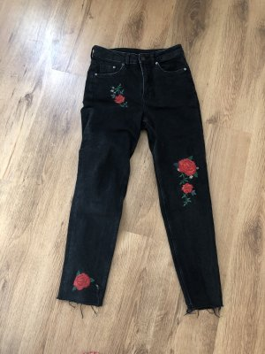 H&M High Waist Jeans black-red