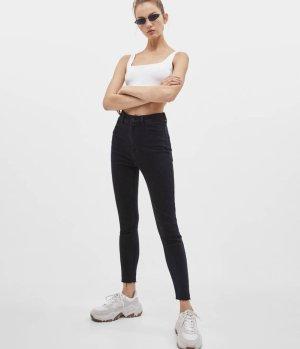 Jeans mit sehr hohem Bund Schwarz Eng figurbetont skinny high waist